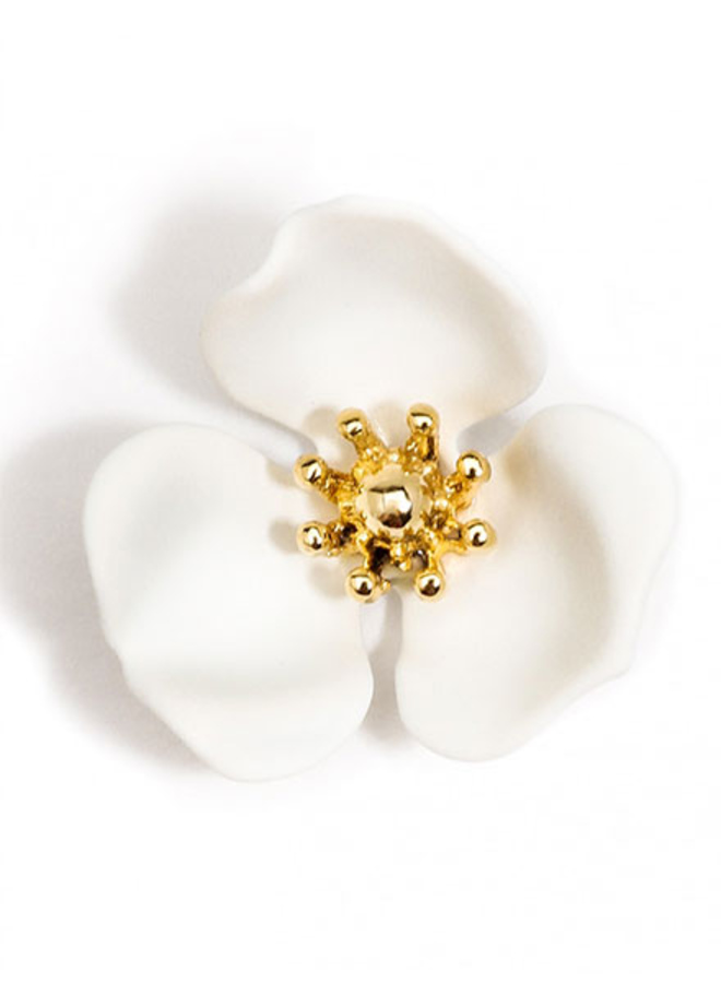 Blooming Lotus Stud Earrings In White
