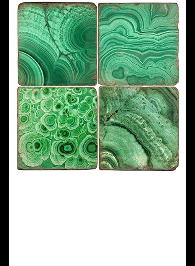 Studio Vertu's Malachite Marble Coaster Set W/Stand