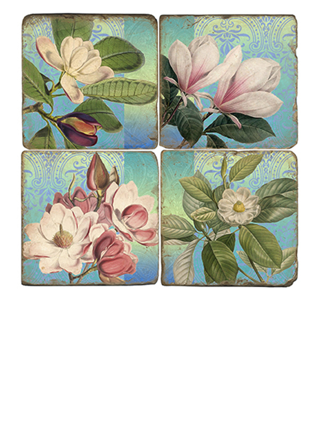 Studio Vertu Marble Magnolias Coaster Set W/Stand