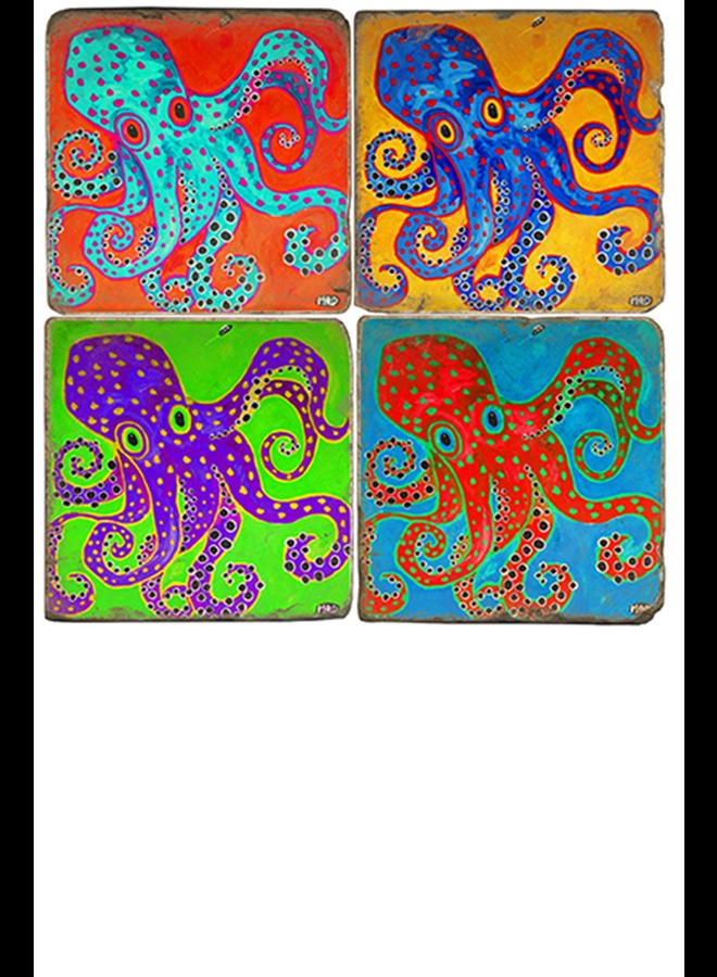 Studio Vertu's Octopus Marble Coaster Set W/Stand