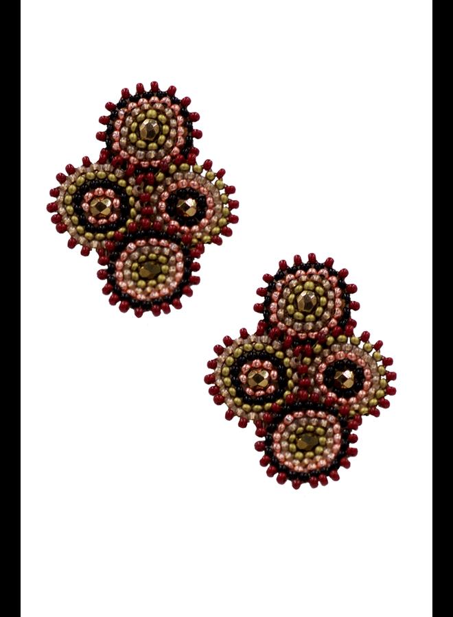 KVZ Four Tiny Medallions Earring In Merlot