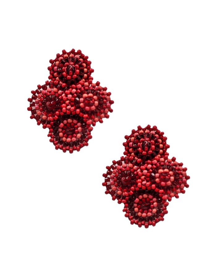 KVZ Four Tiny Medallion Earrings Coral Red