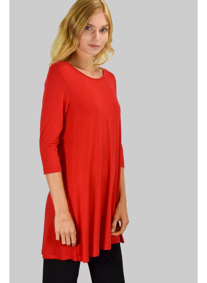 Comfy 3/4 Sleeve Tunic Top In Red