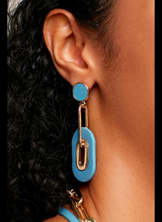 Faux Leather Link Drop Earrings