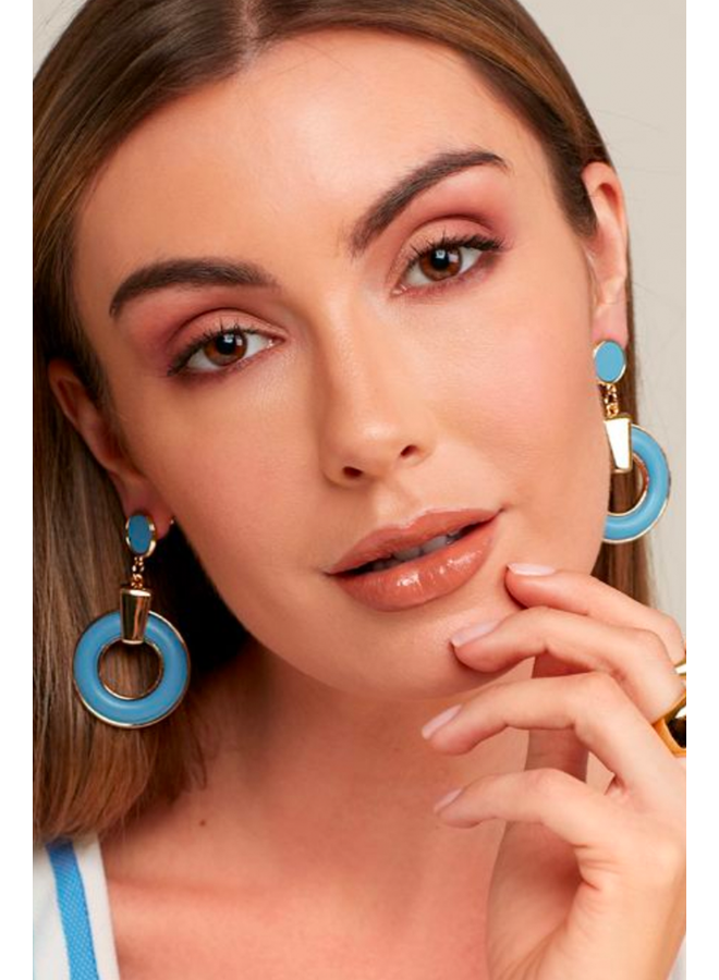 Faux Leather Round Door Knocker Earrings