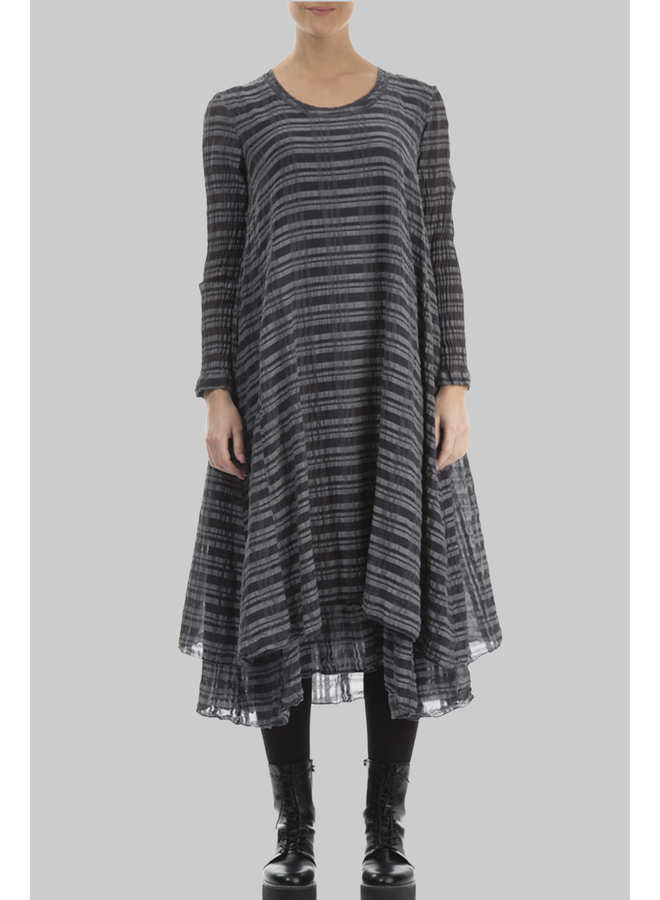Griz Layered Checkered Silk Dress In Stone
