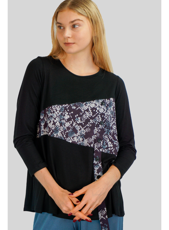 Comfy Bianca Top In The S Print And Black