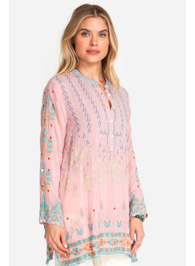 Johnny Was Jardin Tunic In Dusty Pink