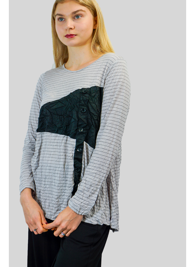 Comfy Victoria Top In Oyster Stripe & Black
