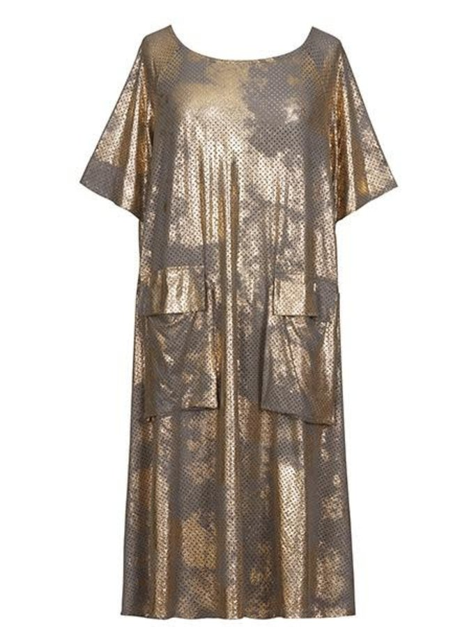 Alembika Resort Perforated Dress In Gold