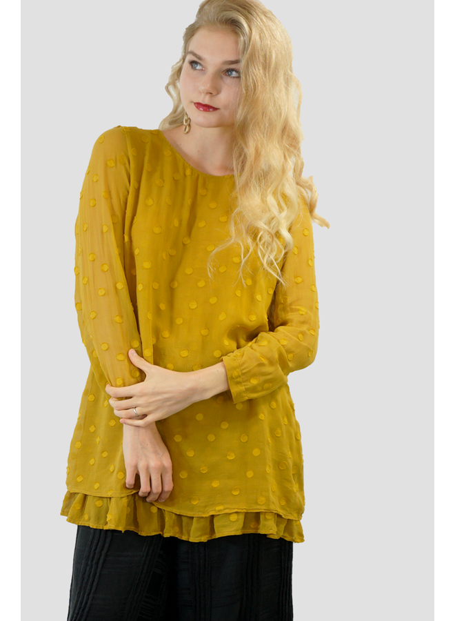 Griza Layered Dotty Silk Blouse In Mustard