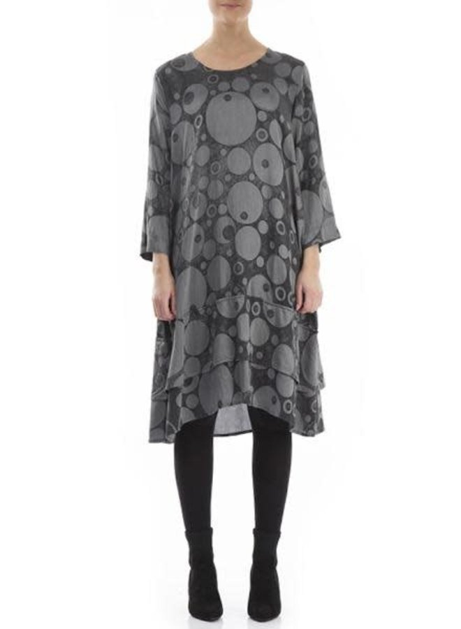 Griza Silk Bamboo Dress In Anthracite Bubbles