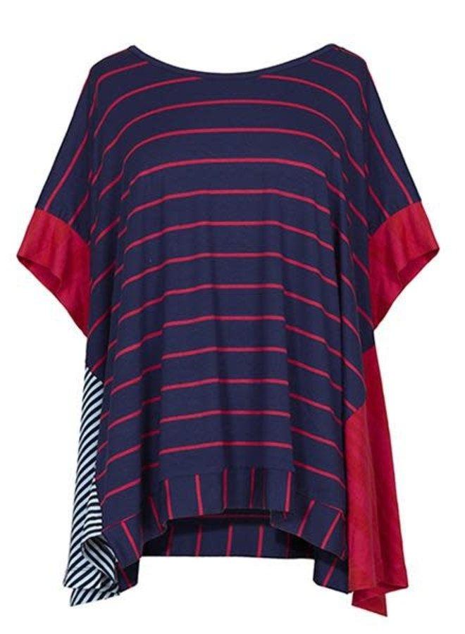 Alembika Navy, White & Red Stripe Top