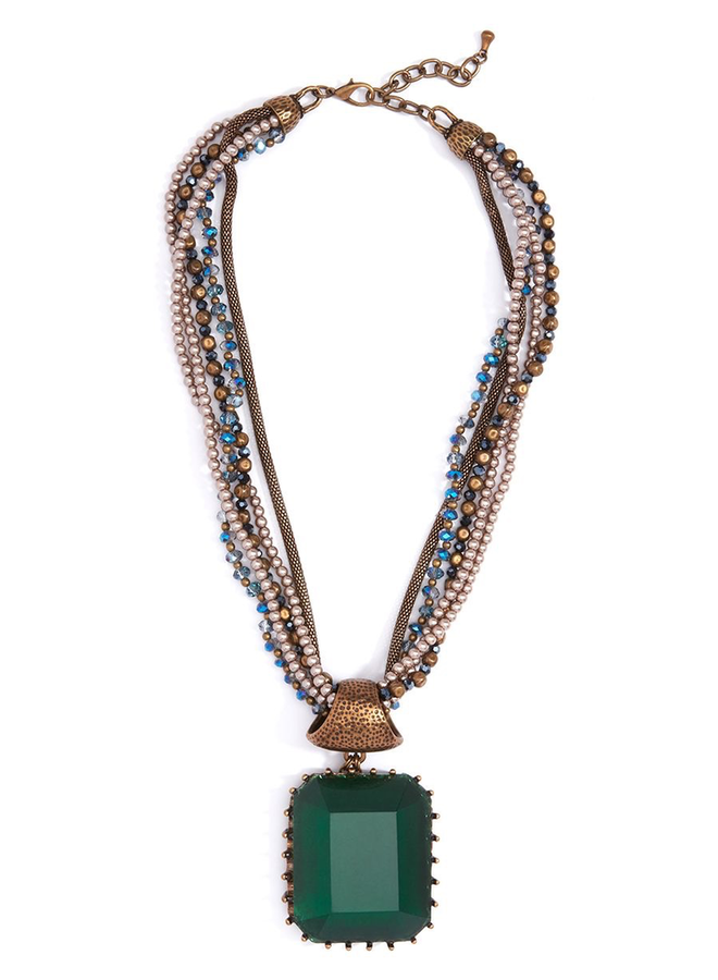 Crown Jewels Faceted Pendant Necklace In Green