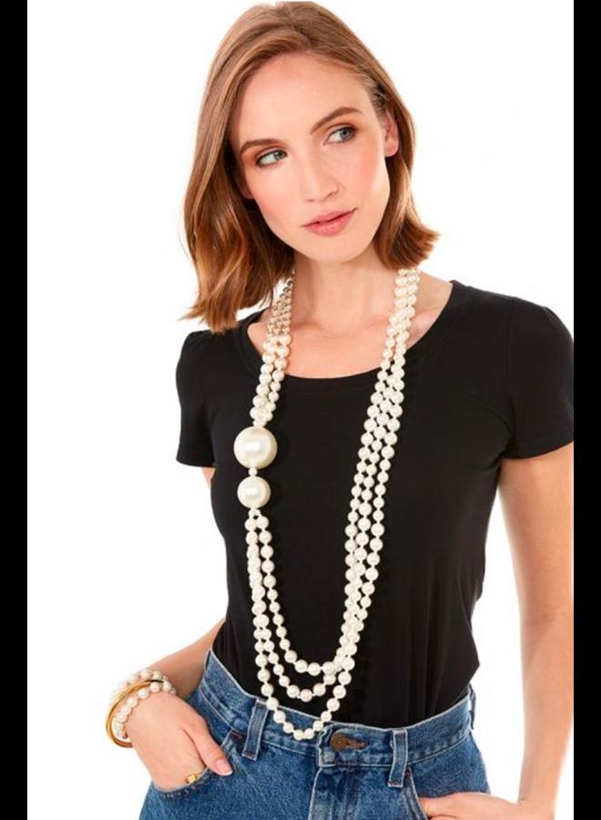 Asymmetrical Peal Long Necklace