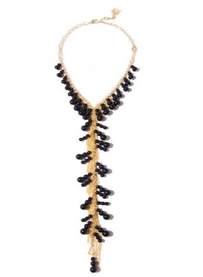 Dew Drops Lariat Necklace In Black