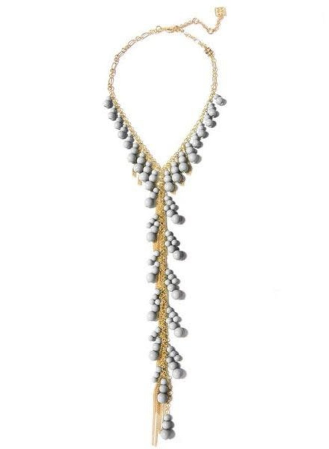Dew Drops Lariat Necklace In Light Grey