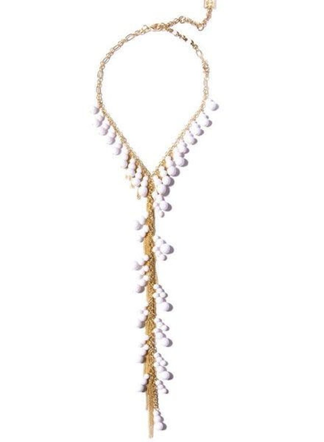 Dew Drops Lariat Necklace In White