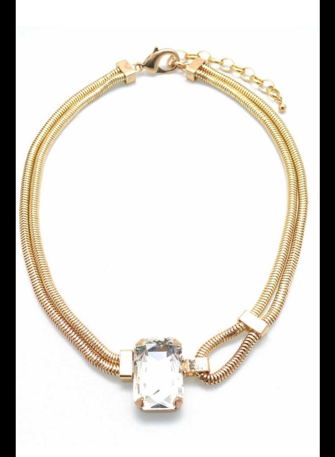 Loop & Gemstone Snake Chain Necklace