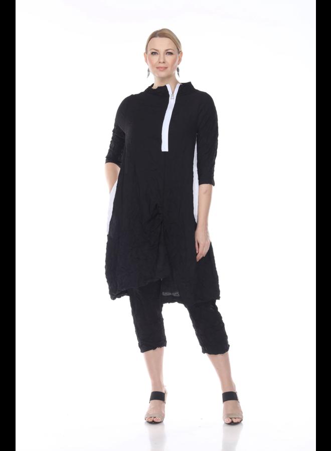 Terra Crepe De Chine Black & White Dress