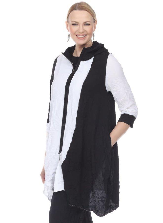 Terra Zip Front Tunic In Black & White