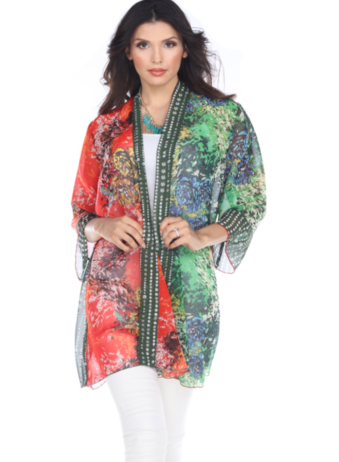 Aris A Greens & Reds Sheer Jacket