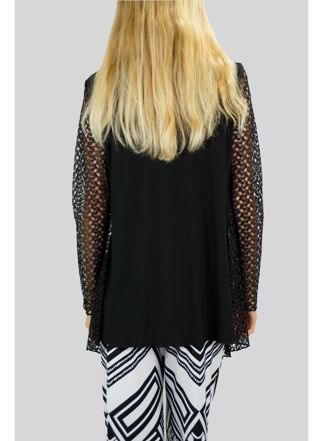 Crepe And Lace Jacket In Black