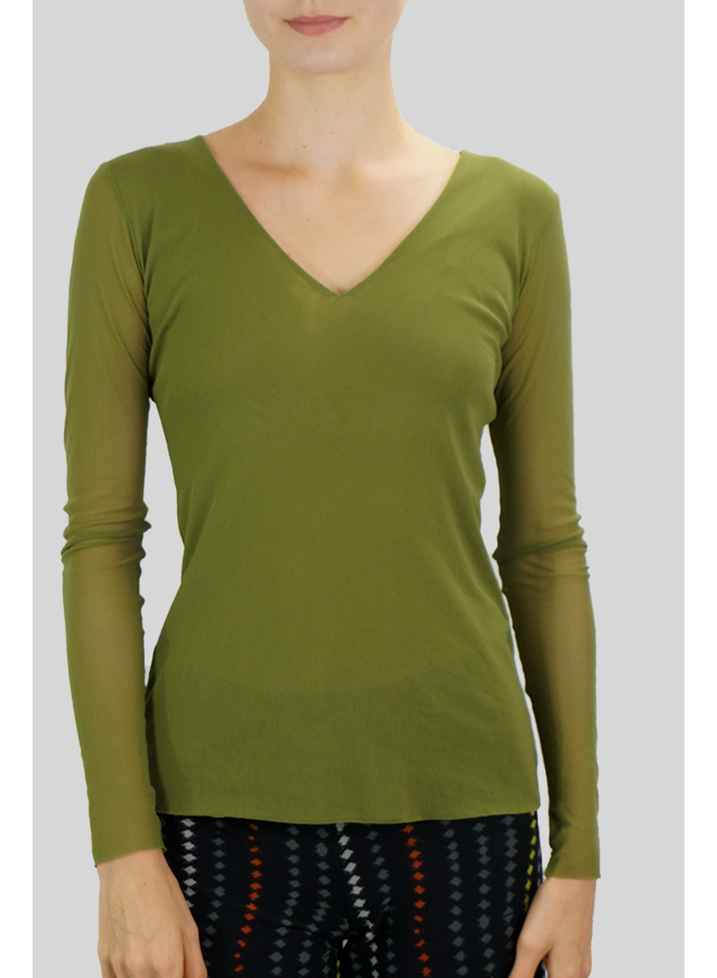 Petit Pois V-Neck Top In Olive