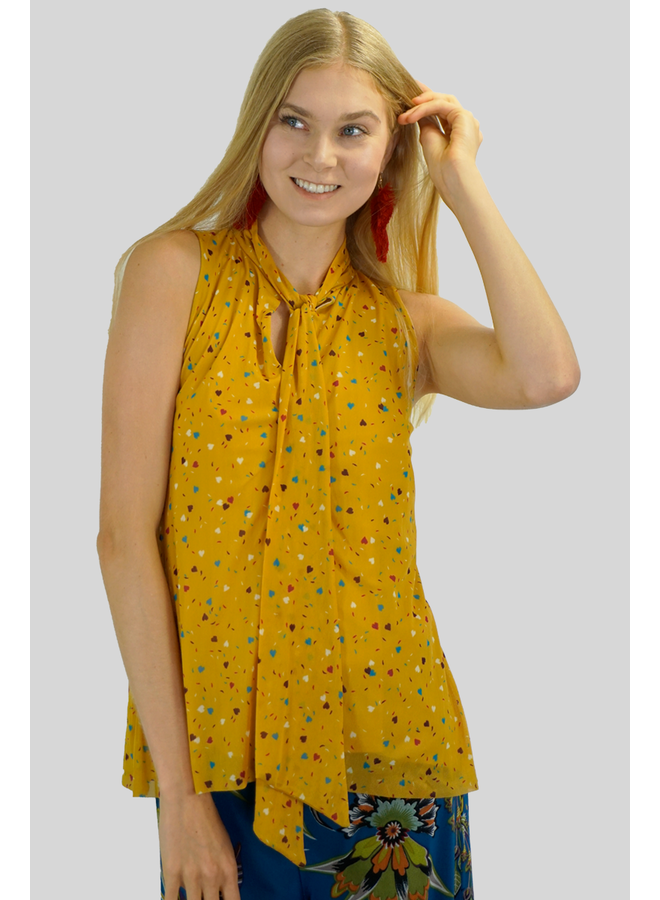 Petit Pois Button Hole Tank In Love Me Gold