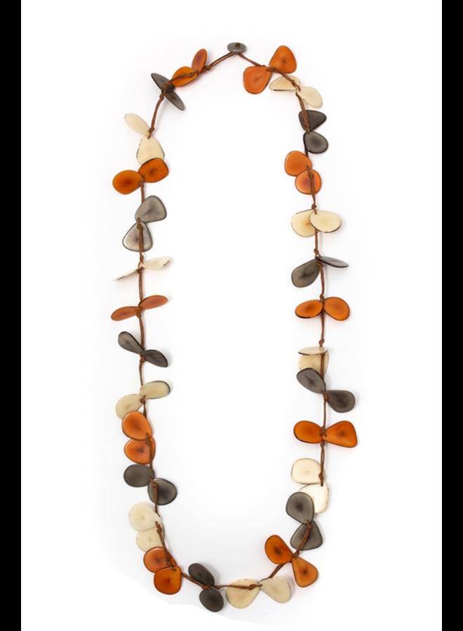 Tagua Slice Necklace In Orange Combo