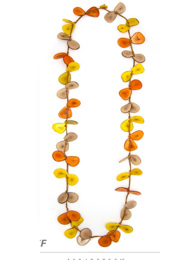 Tagua Slice Necklace In Orange, Cafe & Yellow
