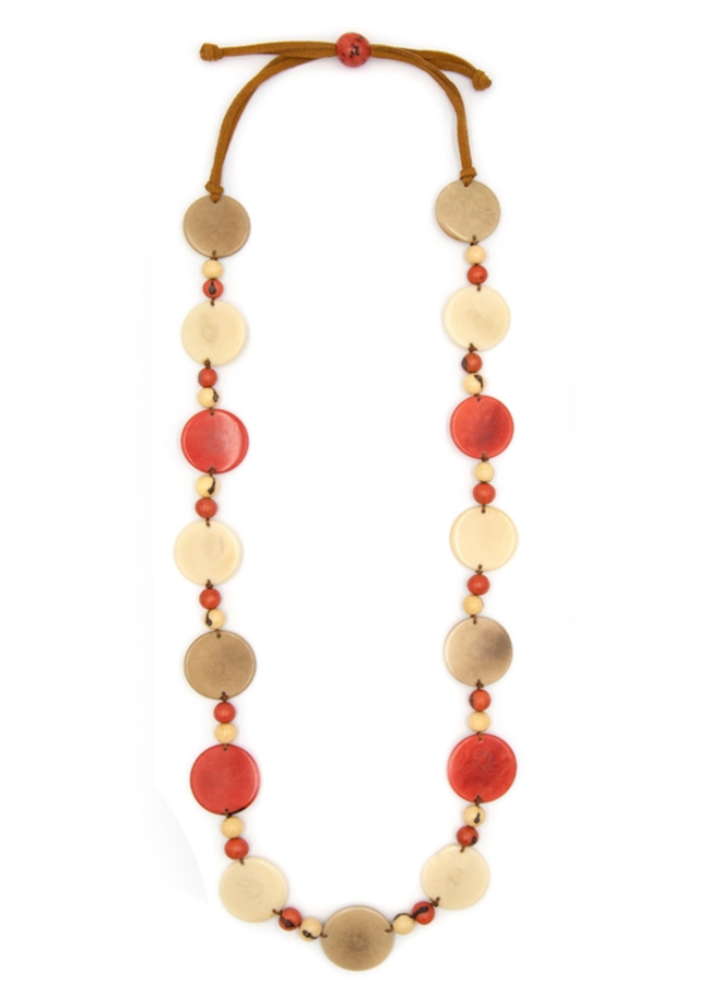 Tagua Betsy Necklace In Poppy Combo