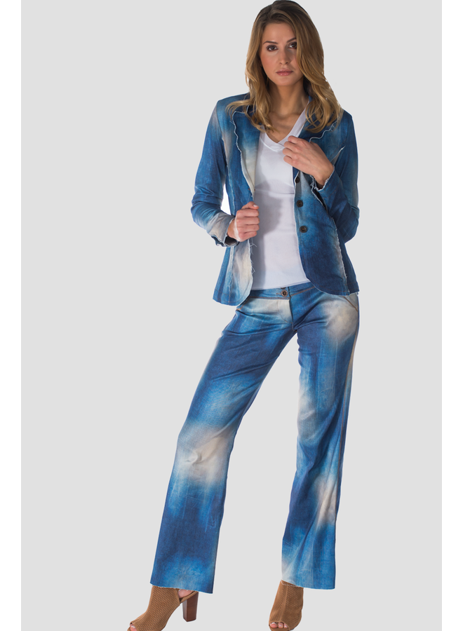 Petit Pois Hipster Wide Leg Pant in Stretch Denim