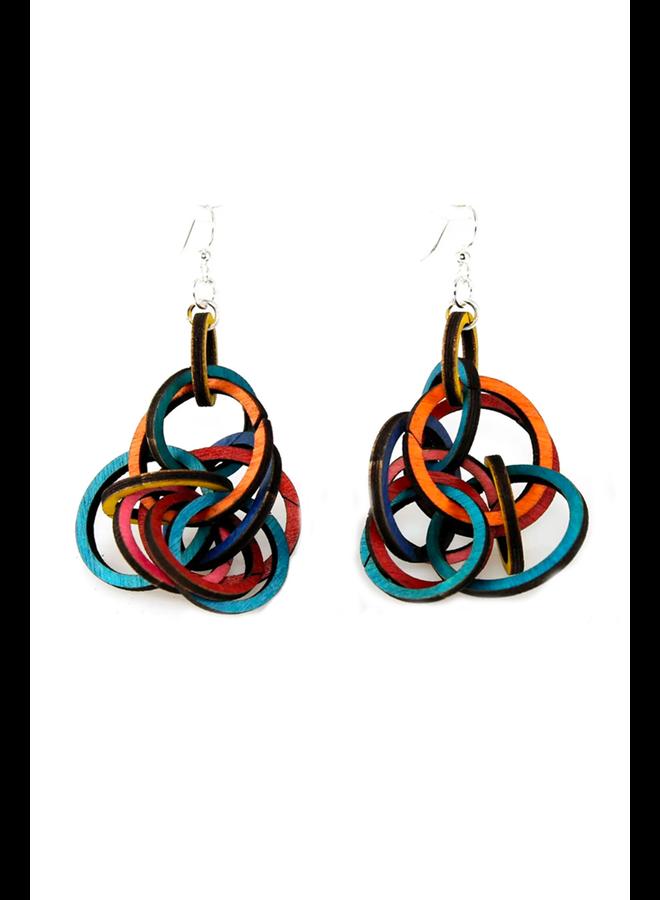 Interlocking Ring Wood Earrings