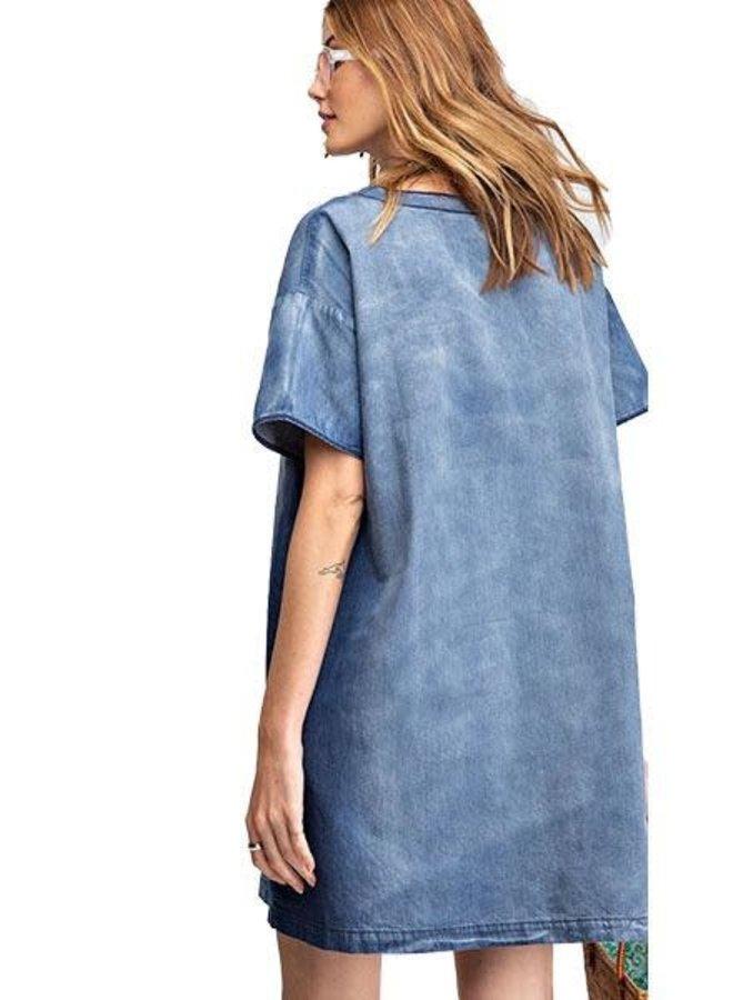 Lace Up Front Denim Dress