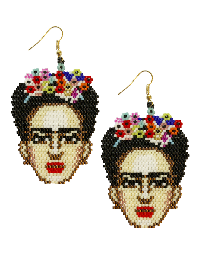 Seed Bead Frida Earrings