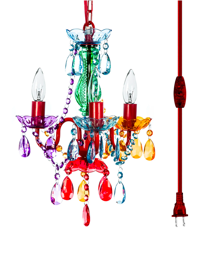 3 Light Plug In Chandlier Multi-Colored