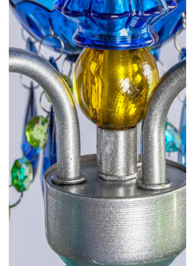 3 Light Plug In Chandlier In Blue Green