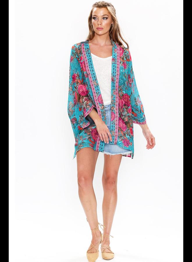 Aratta's Phillipa Kimono In Teal Flowers