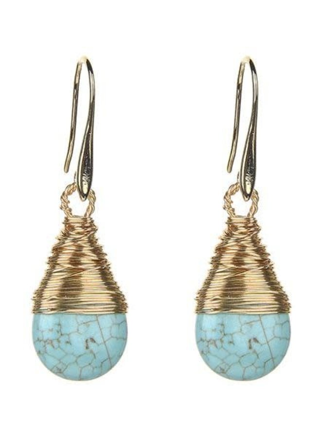 Wire Wrapped Turquoise Stone Earrings