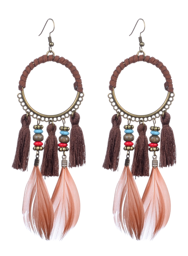 Boho feather Tassel Earrings In Brown