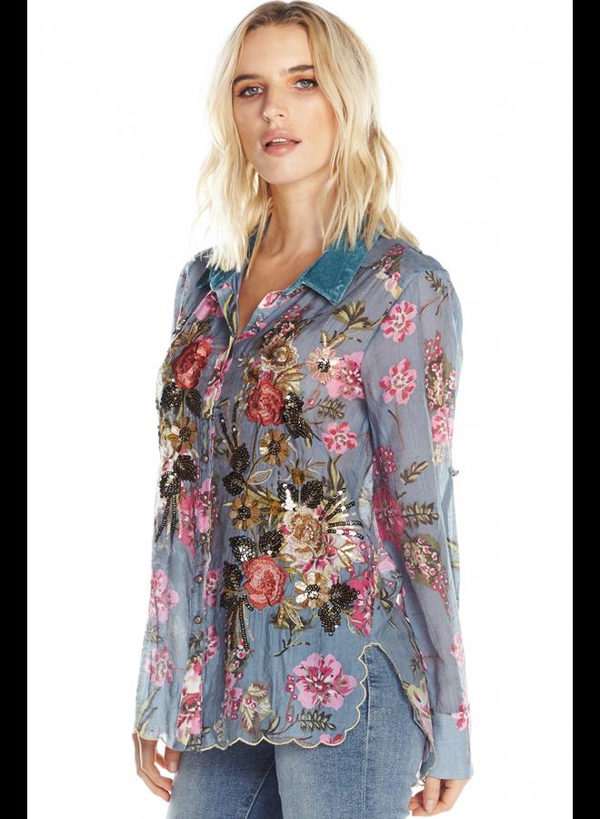 Aratta's Countess Margaret Shirt In Slate Blue