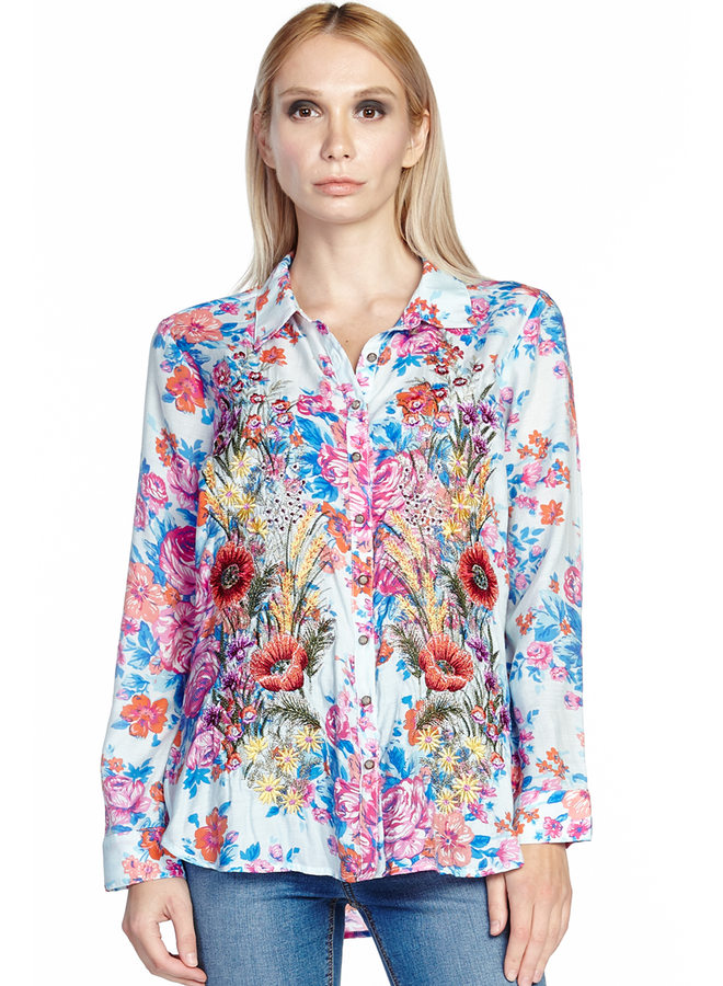 Aratta's Our Hearts Shirt In Sky Floral