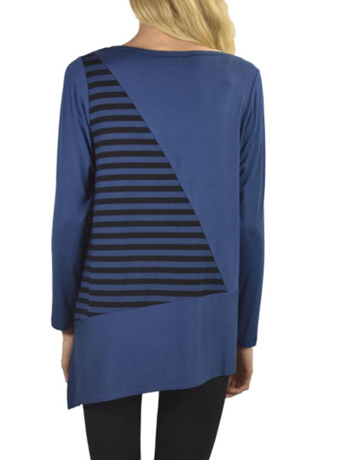 Comfy Clara Tunic In Blue Allure & Stripe
