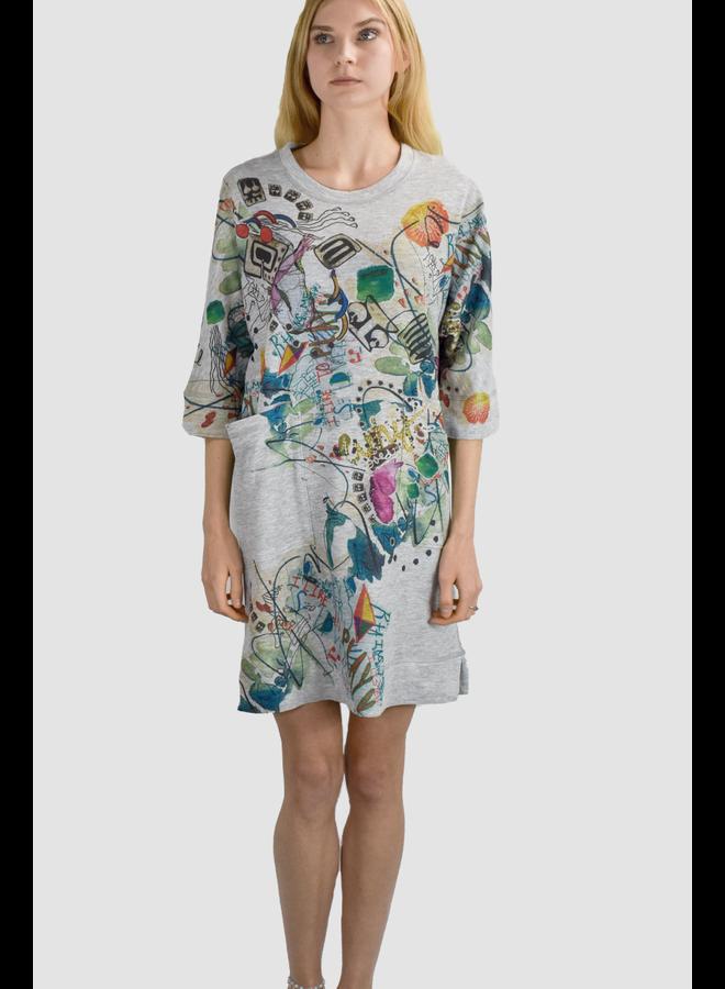 I Like To Play Dress In Heather Grey