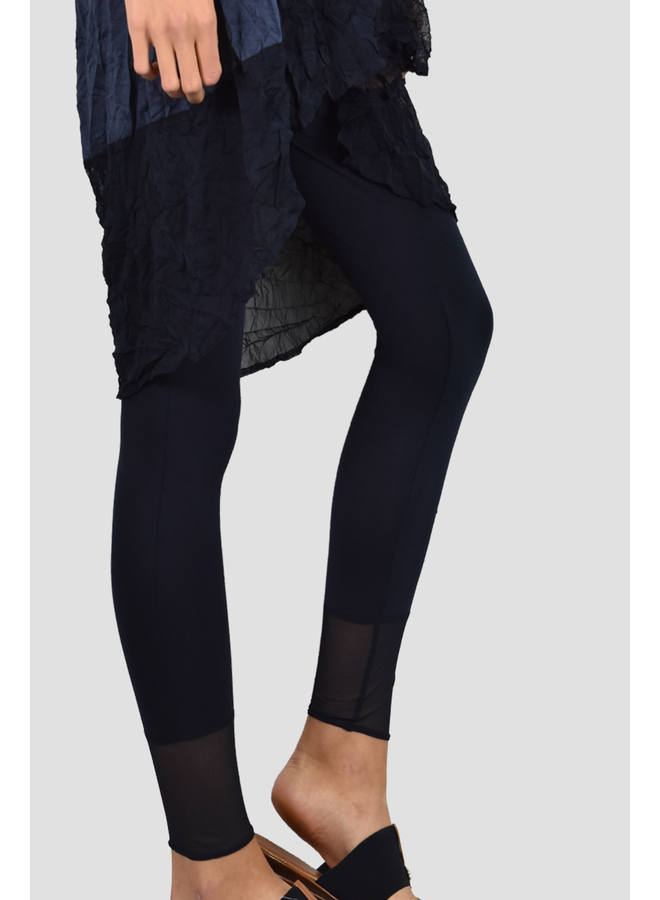 Comfy Long Legging With Mesh Contrast in Black