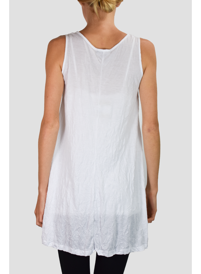 Comfy Crinkle Tunic Tank In White