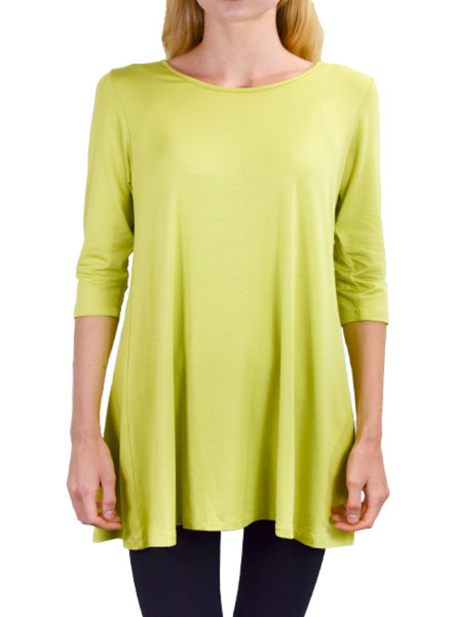 Comfy 3/4 Sleeve Full Tunic In Chartreuse