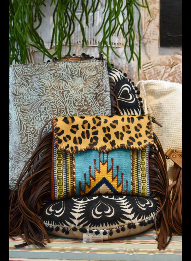 Leather Navajo Blanket Crossbody