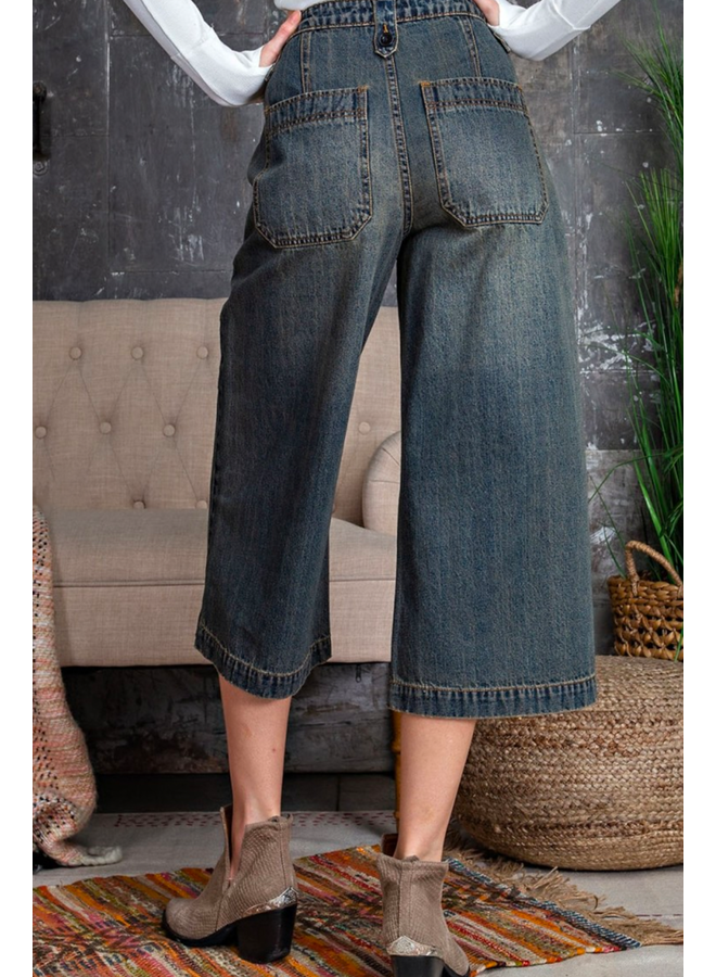 Washed Denim Cropped Wide Leg Pants